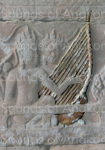 Court harp of King Jayavarman VII with 11 strings. Bayon.