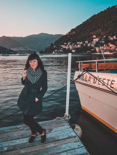 It's me waiting for a boat going to the Villa D'Este on lake Como in Italy