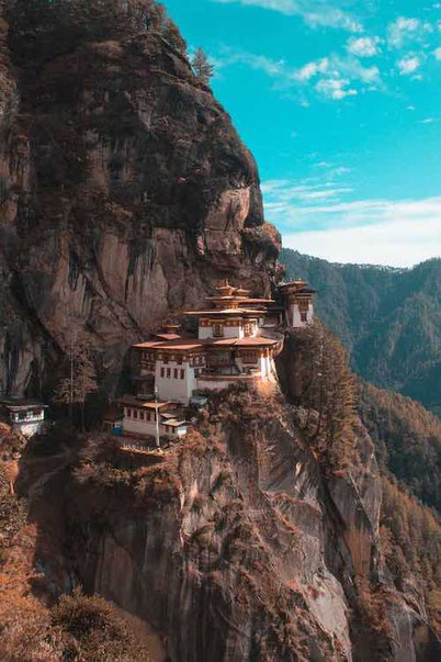 a temple in the mountains in Bhutan