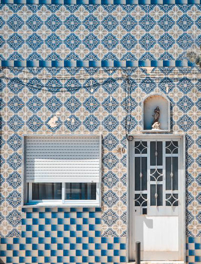modern house with Portuguese tiles in Lisbon
