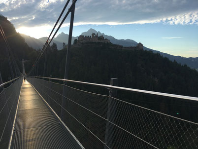 Hanging bridge in Ehrenberg Tirol Austria