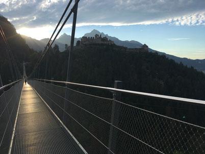 Hanging bridge in Ehrenberg Tirol Austria