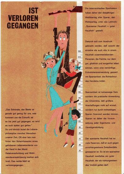 Das rechte Maß ... Innenteil. Gestaltung Heinz Traimer für die Sparkasse und Zentralsparkasse 1963.