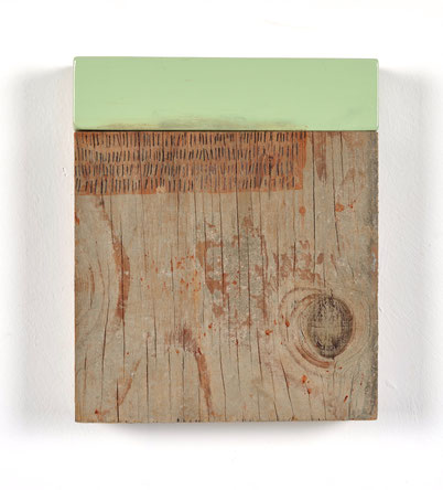 Untitled, oil enamel on block, ink, pencil & concrete residue on CDX plywood,