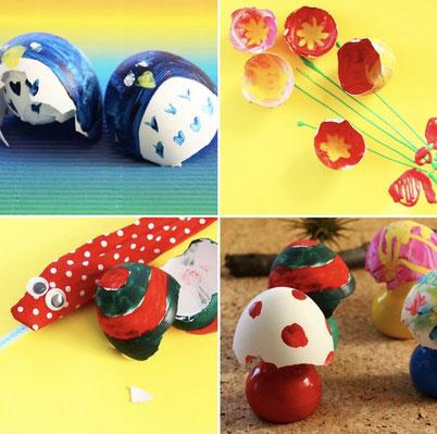 殻のカタチから創造を膨らませて好きなものを作りましょう!