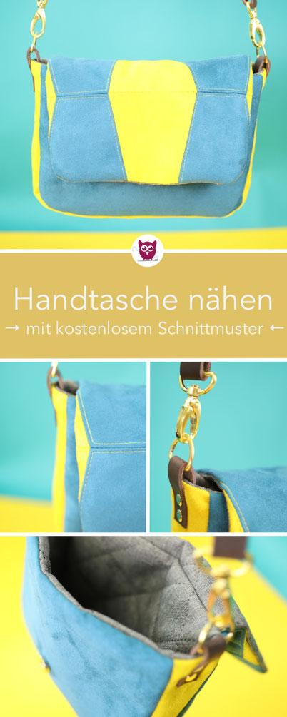 [Werbung] Kleine Handtasche nähen mit kostenlosem Schnittmuster: #handtaschePetrola ist aus buntem Kunstleder als Rauleder in Double-Face mit Stepper als Futter, Lederriemen und Magnetverschluss. Patchwork Klappe mit Sizzix Big Shot. Nähanleitung DIY Eule