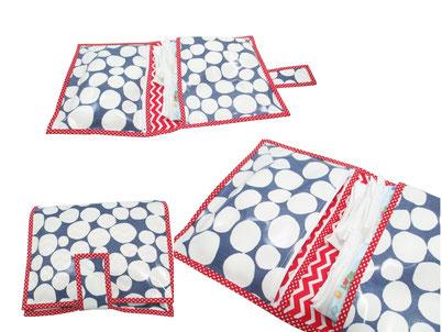 sac à couche toilé cirée bleu fabriqué en france fait main