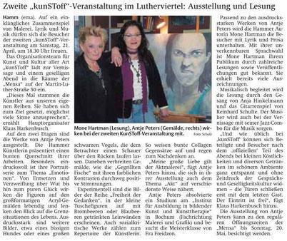 Artikel von Elke Maria Schulz, Stadtanzeiger Hamm