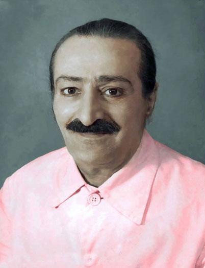 Meher Baba's colourized passport photo taken  29th September 1951
