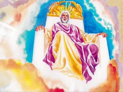 Dieu est assis sur son trône glorieux dans les cieux livre de l'Apocalypse. Je suis l'Alpha et l'Oméga, dit le Seigneur Dieu, celui qui est, qui était et qui vient, le Tout-Puissant.