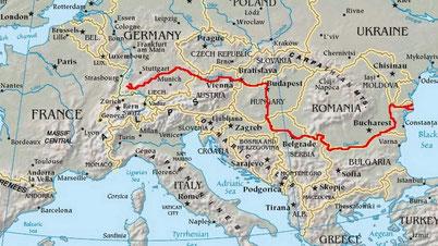 Le cours du Danube (2 875 km, 2ème plus long fleuve d'Europe)