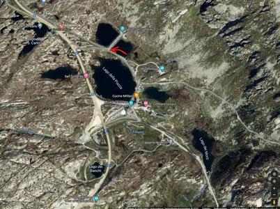 Der rote Pfeil zeigt unseren Lagerplatz