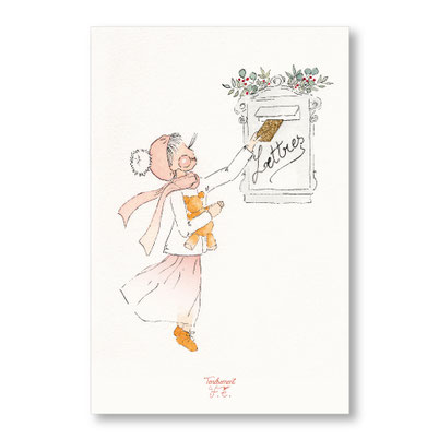 Tendrement Fé - illustration papeterie bohème carte lette au père noël aquarelle collection Joyeux Noël