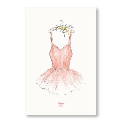 tendrement fé illustration papeterie bohème affiche illustrée tutu bohème danse classique fleurs aquarelle poétique illustratrice