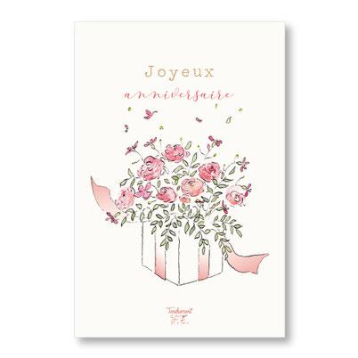 Tendrement Fé - illustration papeterie bohème carte cadeau fleuri collection illustrée aquarelle poétique joyeux anniversaire bouquet de fleurs fête illustratrice
