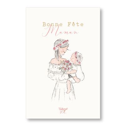 Tendrement Fé - illustration papeterie bohème carte bonne fête maman collection illustrée aquarelle poétique fête des mères illustratrice