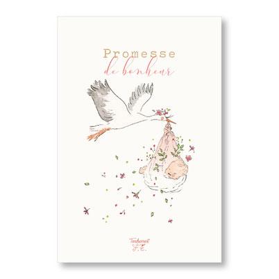 Tendrement Fé - illustration papeterie bohème carte cigogne fille collection illustrée aquarelle naissance bébé nouveau né enfant fairepart illustratrice