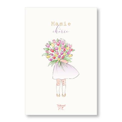 Tendrement Fé illustration papeterie bohème carte bonne fête mamie d'amour bouquet de tulipes fleurs aquarelle illustratrice poétique