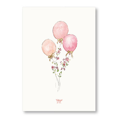 Tendrement Fé - illustration papeterie bohème affiche pailletée or collection illustrée ballons fleuris paillettes aquarelle poétique illustratrice
