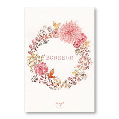 Tendrement Fé - illustration papeterie bohème carte bonheur couronne de fleurs automne collection aquarelle