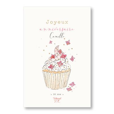 Tendrement Fé illustration papeterie bohème carte cupcake fleuri collection illustrée joyeux anniversaire personnalisé fleurs aquarelle poétique