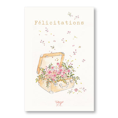 Tendrement Fé - illustration papeterie bohème carte malle fleurie félicitations collection illustrée aquarelle poétique fairepart naissance mariage fleurs illustratrice