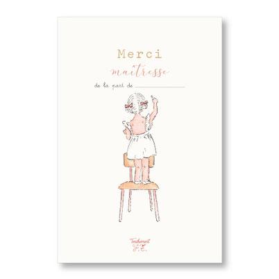 Tendrement Fé - illustration papeterie bohème carte petite écolière collection illustrée aquarelle poétique merci maîtresse illustratrice