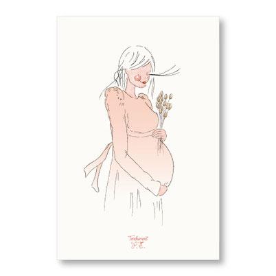 tendrement fé illustration papeterie bohème carte maman bohème collection illustrée maternité grossesse femme enceinte aquarelle poétique