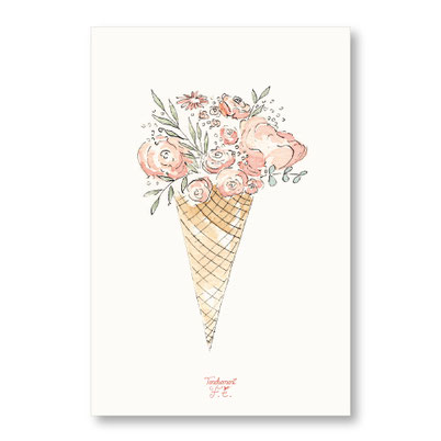 Tendrement Fé - illustration papeterie bohème carte cornet de glace collection illustrée aquarelle poétique illustratrice