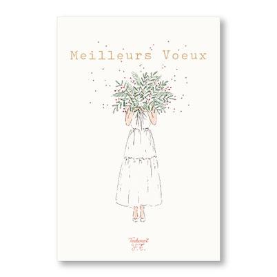 tendrement fé - illustration papeterie bohème carte bouquet de voeux meilleurs voeux bonne année aquarelle collection Joyeux Noël