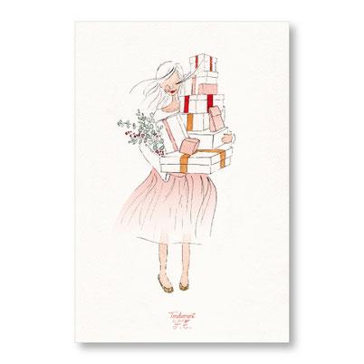 Tendrement Fé - illustration papeterie bohème carte course aux cadeaux aquarelle collection Joyeux Noël
