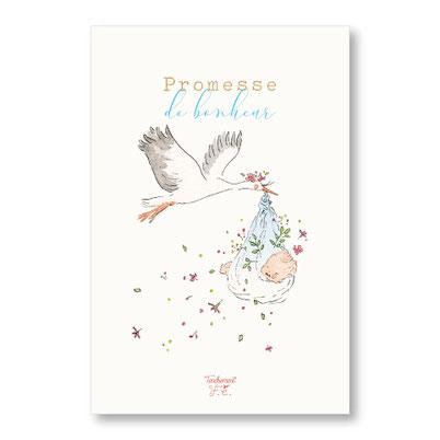 Tendrement Fé - illustration papeterie bohème carte cigogne garçon collection illustrée aquarelle naissance bébé nouveau né enfant fairepart illustratrice