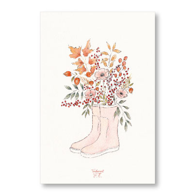 Tendrement Fé - illustration papeterie bohème carte bouquet d'automne collection aquarelle