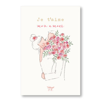 Tendrement Fé - illustration papeterie bohème carte mon amour collection illustrée aquarelle poétique saint valentin je t'aime fairepart mariage illustratrice