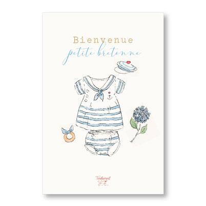 Tendrement Fé - illustration papeterie bohème carte bienvenue petite bretonne collection illustrée aquarelle poétique fairepart naissance nouveau né bébé jolie layette illustratrice