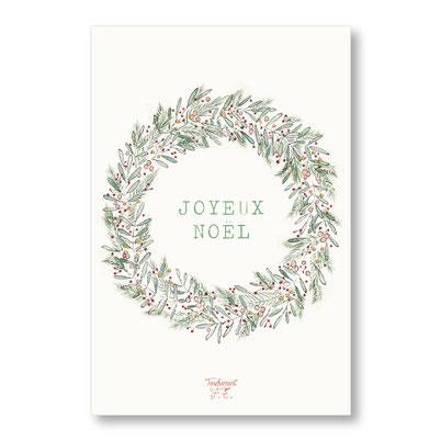 Tendrement Fé - illustration papeterie bohème carte couronne joyeux noël aquarelle collection Joyeux Noël