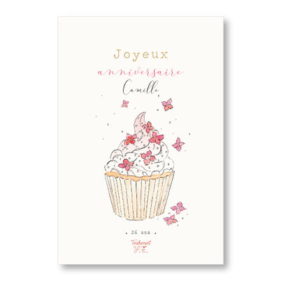 Tendrement Fé illustration papeterie bohème carte cupcake fleuri collection illustrée joyeux anniversaire personnalisé fleurs aquarelle poétique