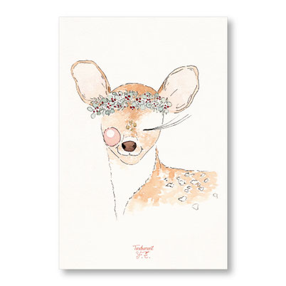 tendrement fé - illustration papeterie bohème carte petit faon collection Joyeux Noël