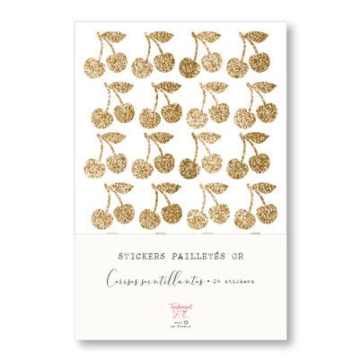 tendrement fé illustration papeterie bohème stickers pailletés or cerises scintillantes paillettes dorées