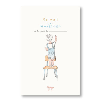 Tendrement Fé - illustration papeterie bohème carte petit écolier collection illustrée aquarelle poétique merci maîtresse illustratrice