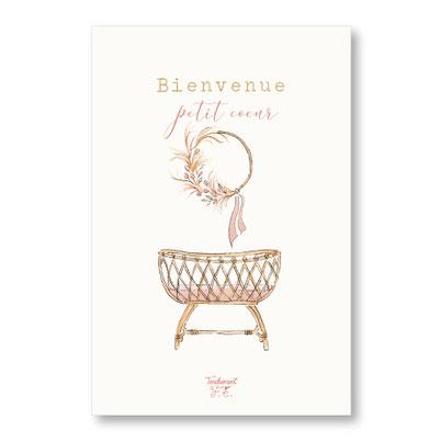 tendrement fé illustration papeterie bohème carte berceau vintage collection naissance aquarelle poétique