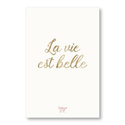 tendrement fé illustration papeterie bohème carte la vie est belle paillettes or collection les mots pailletés carterie poétique