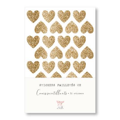 tendrement fé illustration papeterie bohème écoresponsable planche de stickers pailletés or coeurs scintillants paillettes dorées