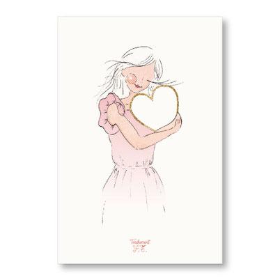 Tendrement Fé - illustration papeterie bohème carte coeur scintillant paillettes or collection illustrée aquarelle poétique illustratrice