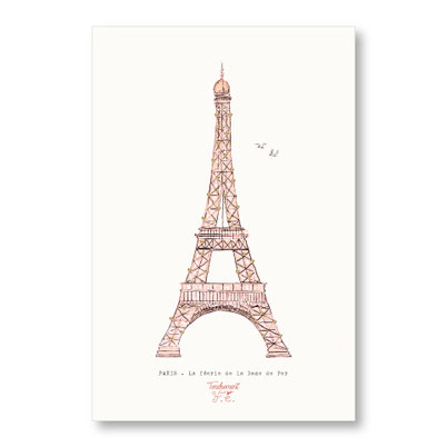 Tendrement Fé - illustration papeterie bohème carte la dame de fer tour eiffel paillettes or collection illustrée aquarelle poétique paris france eiffel tower illustratrice