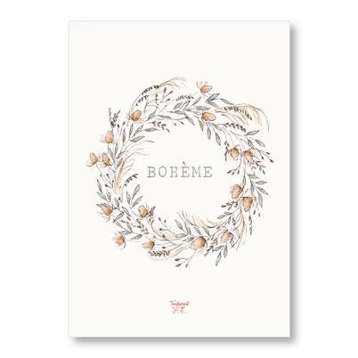 Tendrement Fé - illustration papeterie bohème affiche bohème couronne de fleurs aquarelle poétique illustratrice