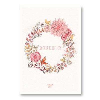 Tendrement Fé - illustration papeterie bohème affiche illustrée bonheur couronne de fleurs aquarelle poétique illustratrice