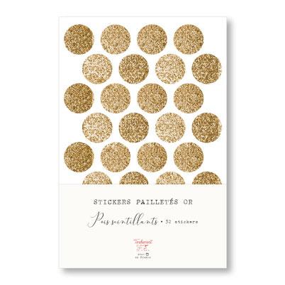 tendrement fé illustration papeterie bohème écoresponsable planche de stickers pailletés or pois scintillants paillettes dorées