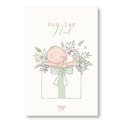 Tendrement Fé - illustration papeterie bohème carte mon 1er noël bébé naissance aquarelle collection Joyeux Noël