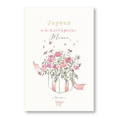 Tendrement Fé illustration papeterie bohème carte cadeau fleuri collection illustrée joyeux anniversaire personnalisé fleurs aquarelle poétique